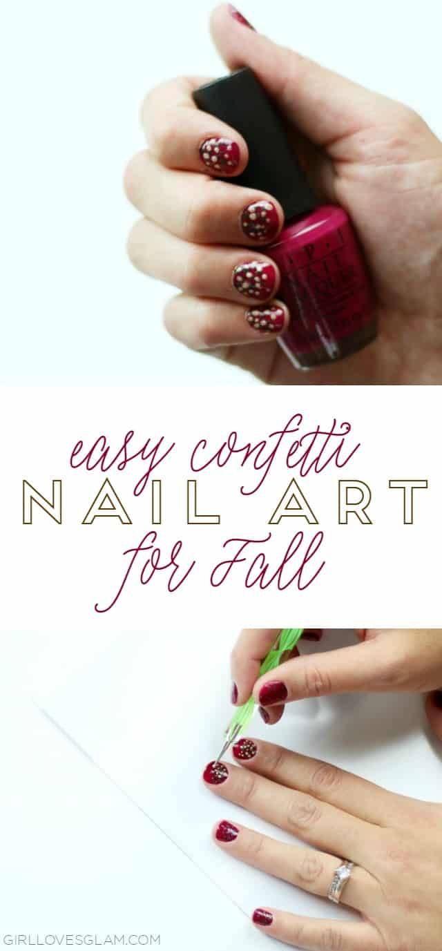Easy Confetti Nail Art Tutorial for Fall on www.girllovesglam.com