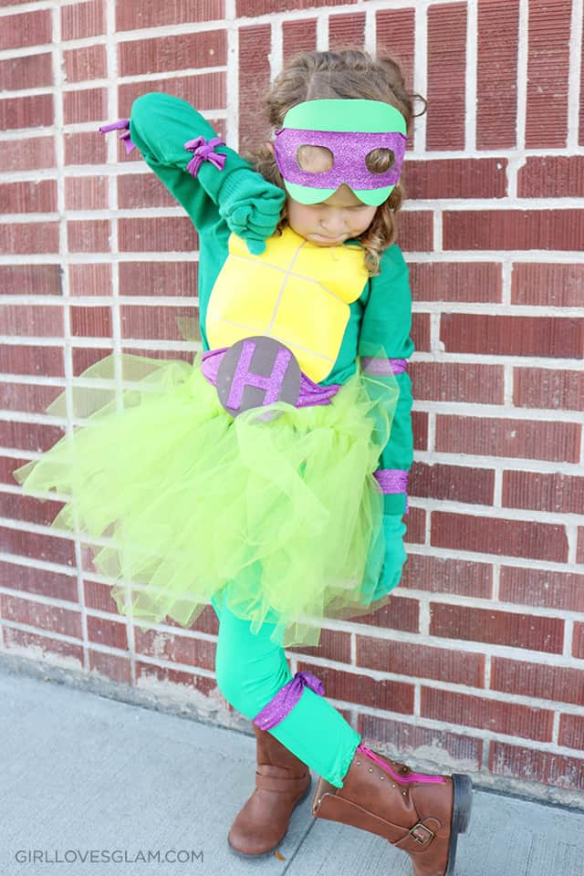 Ninja Turtle No Sew Halloween Costume with Tutu on www.girllovesglam.com