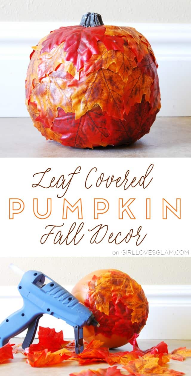 Leaf Covered Pumpkin Fall Decor on www.girllovesglam.com