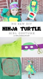 No Sew DIY Ninja Turtle Girl Costume on www.girllovesglam.com
