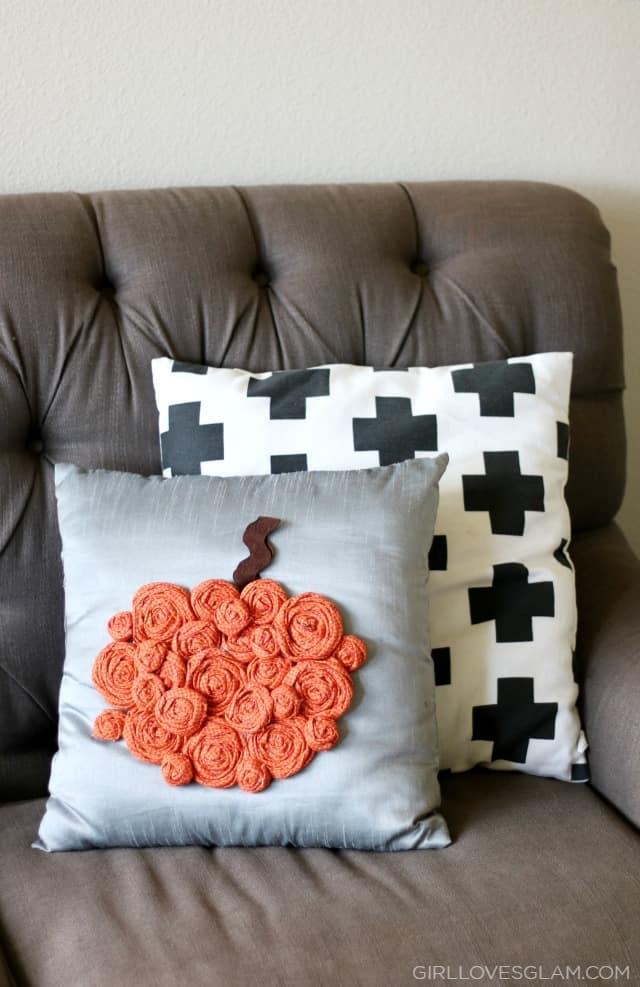 Rosette Pumpkin Pillow Tutorial on www.girllovesglam.com