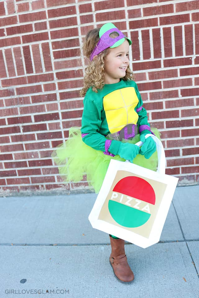 Ninja Turtle Costume Pizza Box Trick or Treat Bag on www.girllovesglam.com