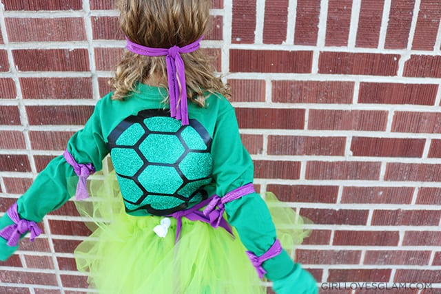 Little Girl Ninja Turtle Costume Shirt Shell on www.girllovesglam.com