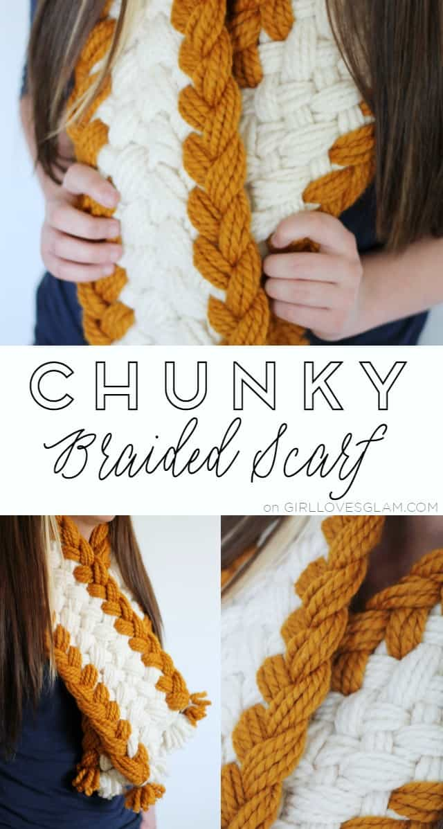 Chunky Braided Scarf Easy Tutorial on www.girllovesglam.com