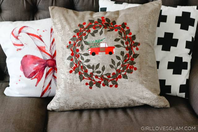 Christmas Pillow with Vintage Truck on www.girllovesglam.com