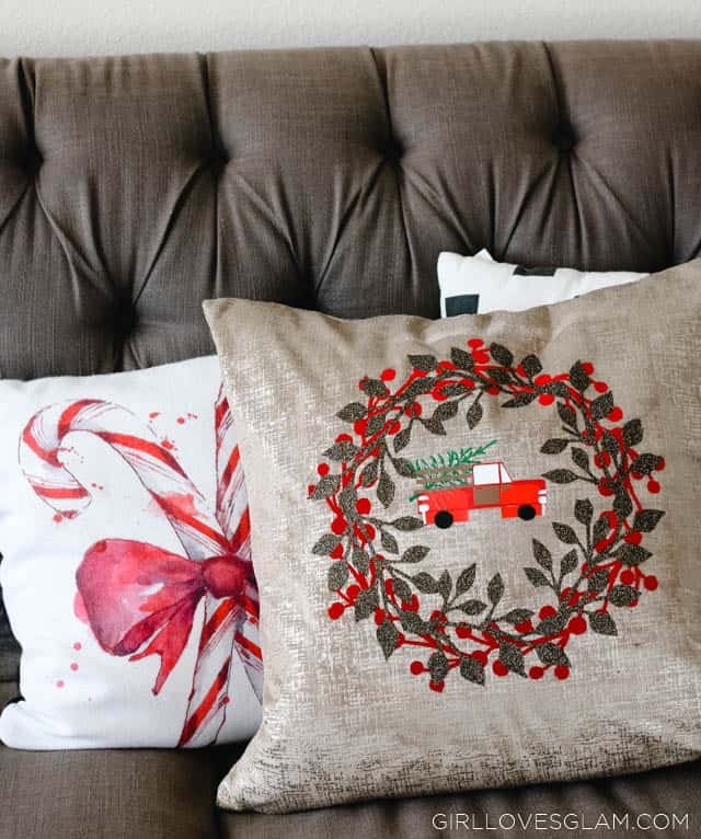 Christmas Pillow with Truck and Christmas Tree on www.girllovesglam.com