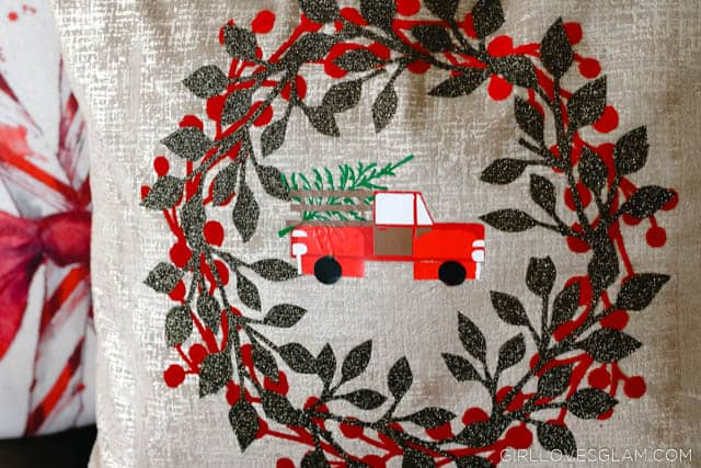 Christmas Tree Truck and Wreath Pillow on www.girllovesglam.com