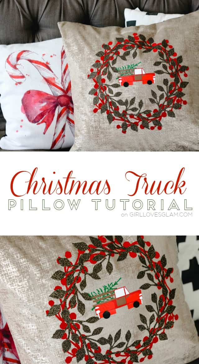 Christmas Truck Pillow Tutorial on www.girllovesglam.com