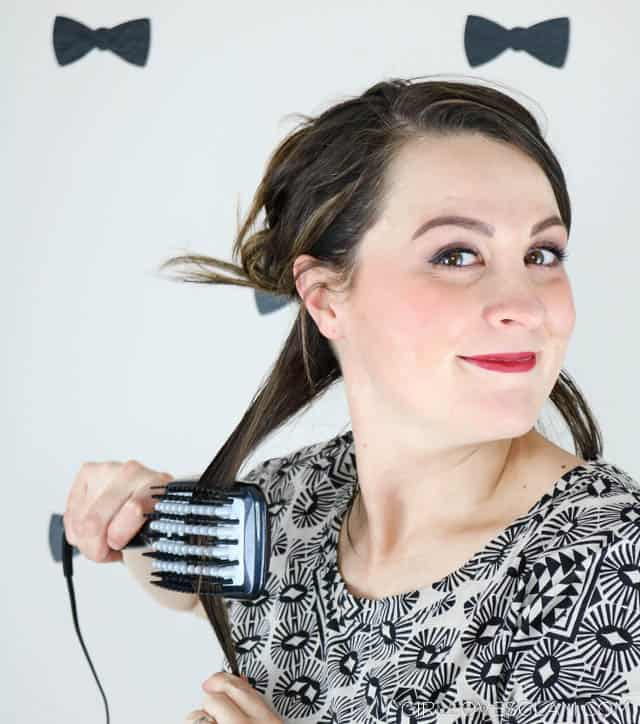 Using the Infiniti PRO by Conair Diamond Brilliance Diamond-Infused Ceramic Smoothing Hot Brush on www.girllovesglam.com