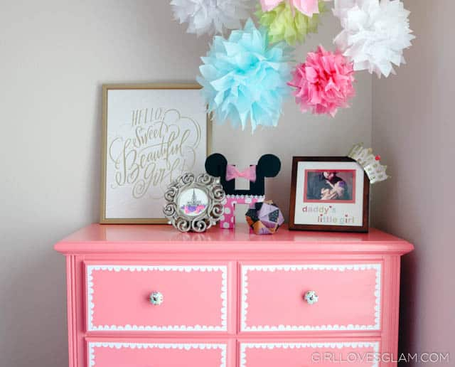 Pink Dresser for Little Girl's Room on www.girllovesglam.com