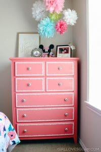 Pink Refinished Dresser with Scallop Trim on www.girllovesglam.com
