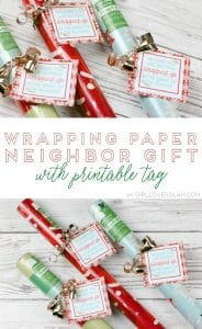 Wrapping Paper Neighbor Gift with Printable Tag on www.girllovesglam.com