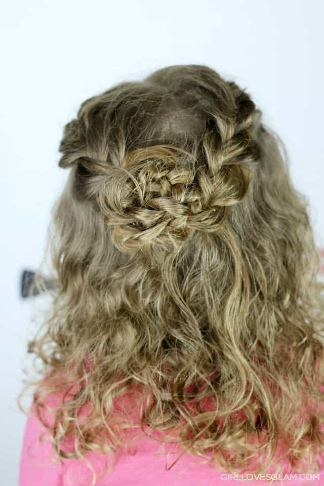 Braided Flower Hairstyle for Little Girls on www.girllovesglam.com