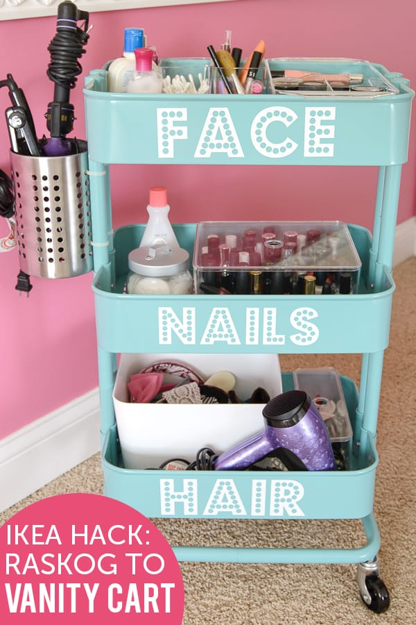 Hair and Makeup Storage Cart on www.girllovesglam.com