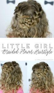 Little Girl Braided Flower Hairstyle on www.girllovesglam.com