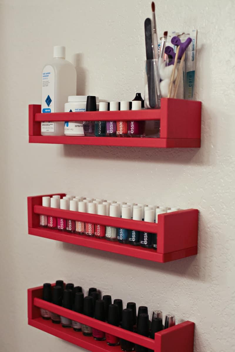 Nail Polish Organization Shelves on www.girllovesglam.com