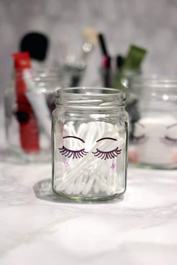 Sharpie Mason Jar Makeup Organization on www.girllovesglam.com