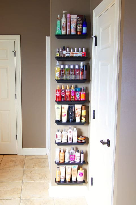 Bathroom Shelves Organizing Hair Products on www.girllovesglam.com