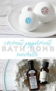 Coconut Peppermint Bath Bomb Snowballs Recipe on www.girllovesglam.com