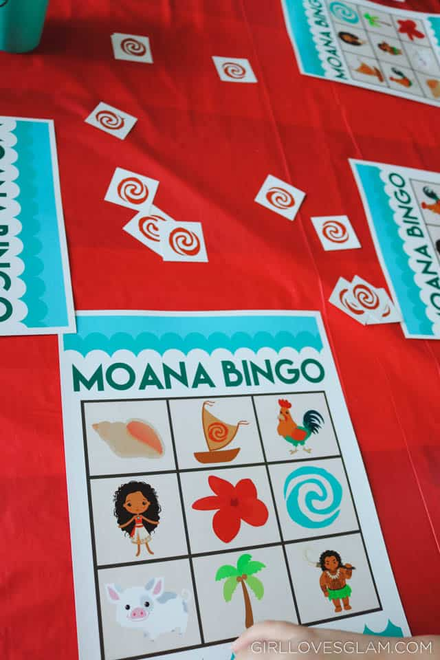 Moana Bingo Game on www.girllovesglam.com