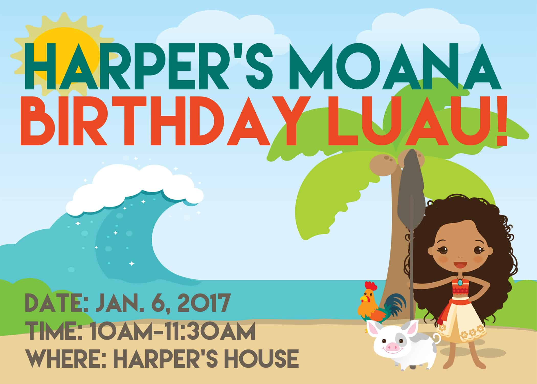 Moana Party Invitations on www.girllovesglam.com