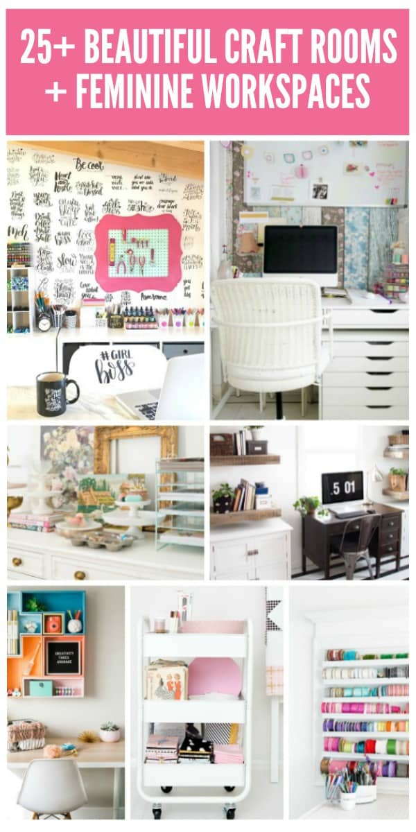 25+ Beautiful Craft Rooms and Workspaces on www.girllovesglam.com
