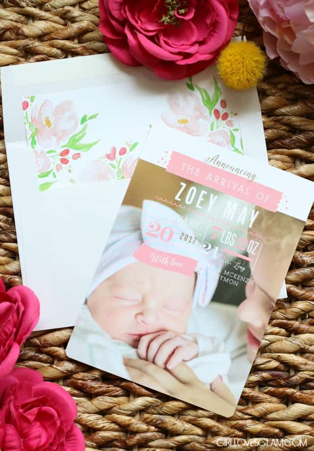 Basic Invite Modern Birth Announcements on www.girllovesglam.com