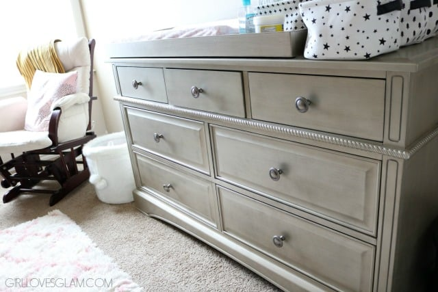 Evolur Pewter Changing Table on www.girllovesglam.com