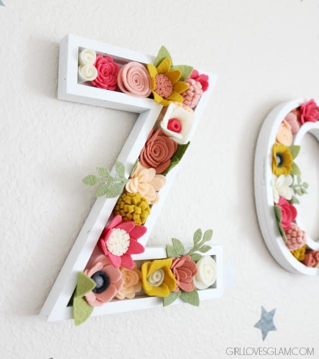 Handmade Felt Floral Letters on www.girllovesglam.com