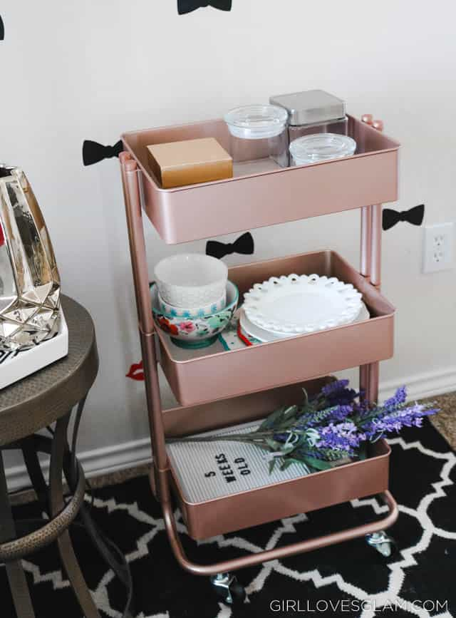 Using Bar Carts to Organize an office on www.girllovesglam.com