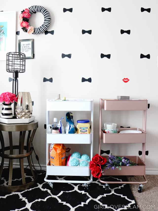 Organizing with Bar Carts on www.girllovesglam.com