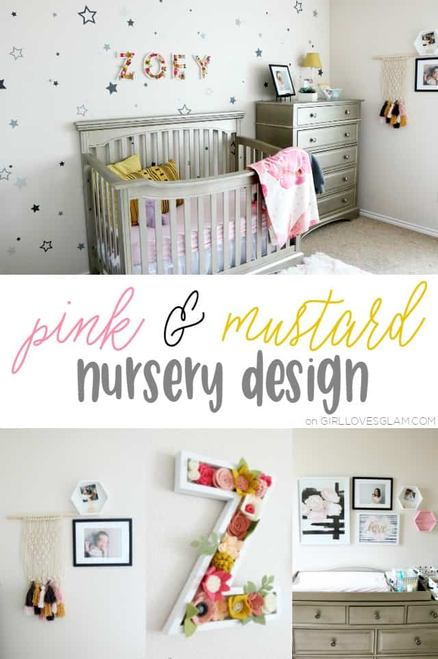Pink and Mustard Nursery Design on www.girllovesglam.com