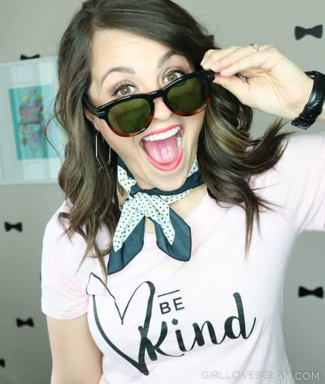 Be Kind Shirt with Luxomo Sunglasses on www.girllovesglam.com