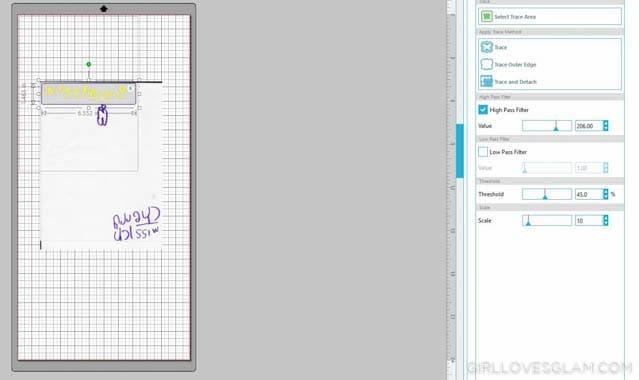 Tracing Handwriting on Silhouette Studio on www.girllovesglam.com