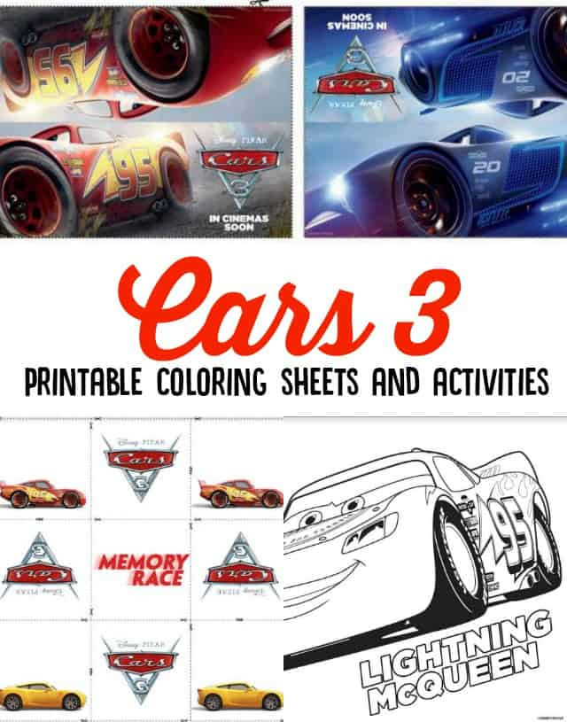 Cars 3 Printable Coloring Sheets and Activities on www.girllovesglam.com