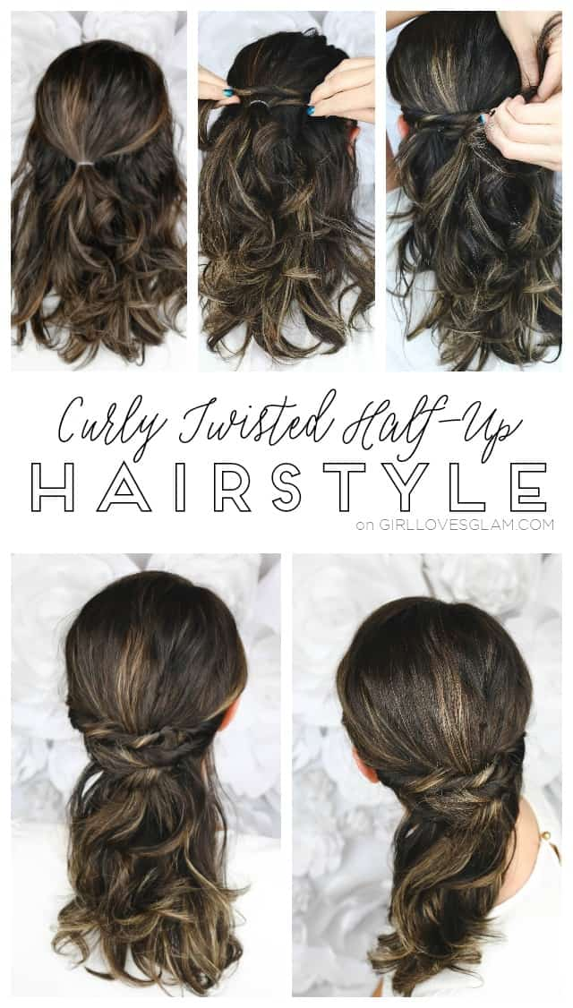 Easy Curly Twisted Half-Up Hairstyle with the Conair Curl Secret 2.0 - Girl Loves Glam