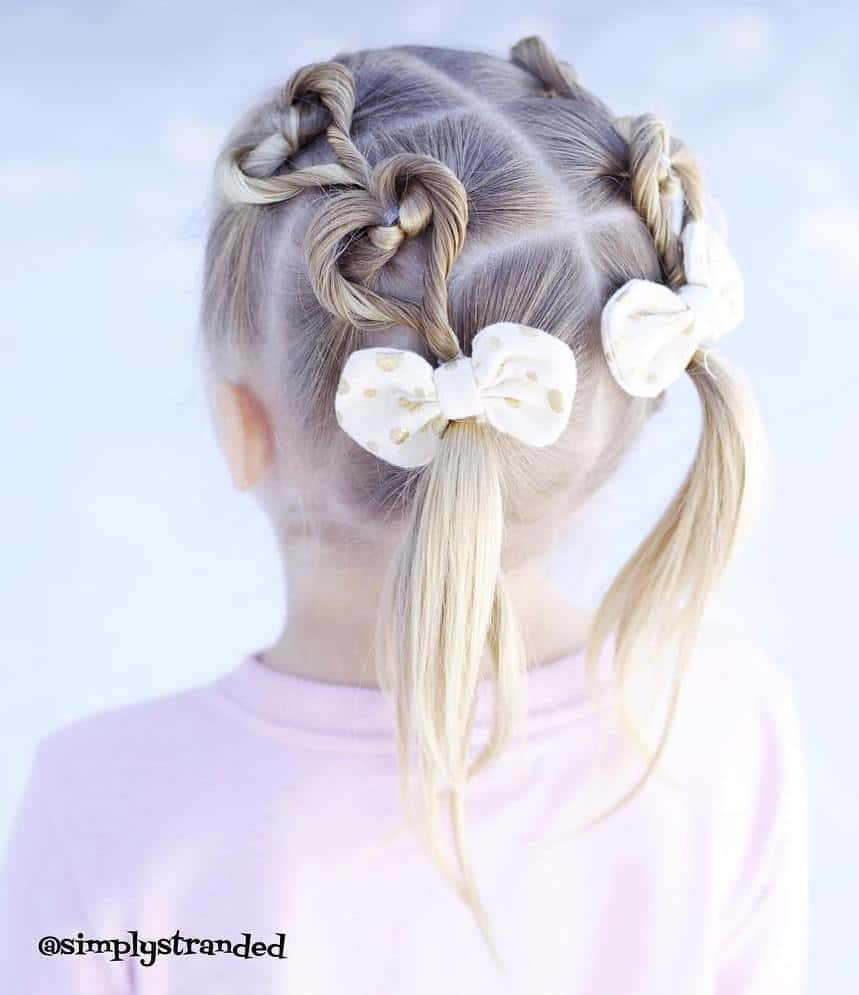 Heart Pigtails for Little Girls