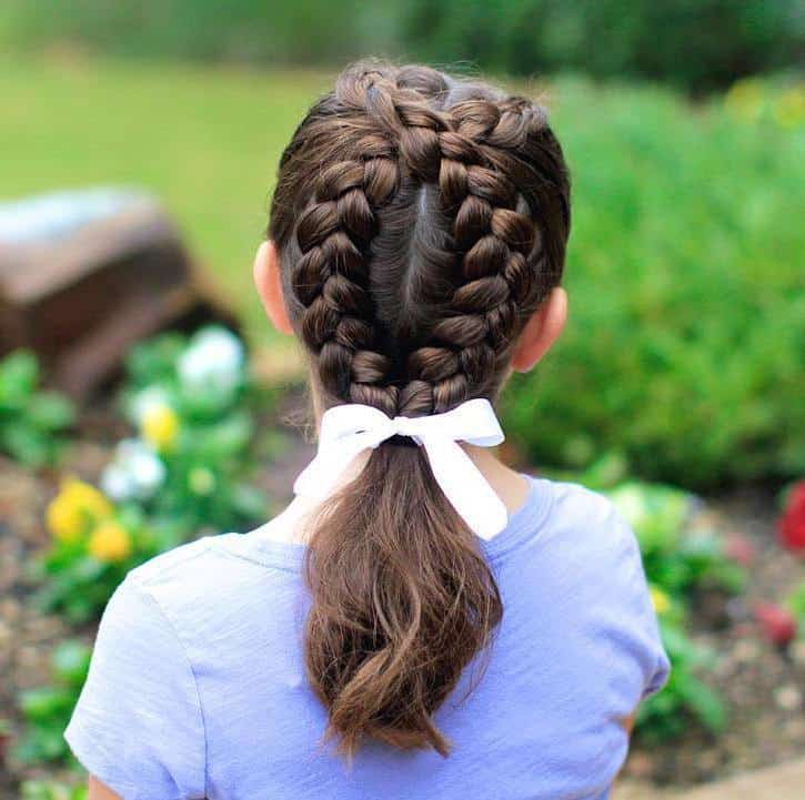 Cross Braid Ponytail for Little Girls
