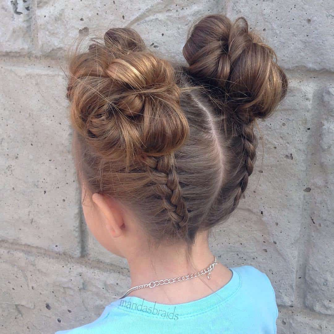 Dutch Braid Pigtail Buns