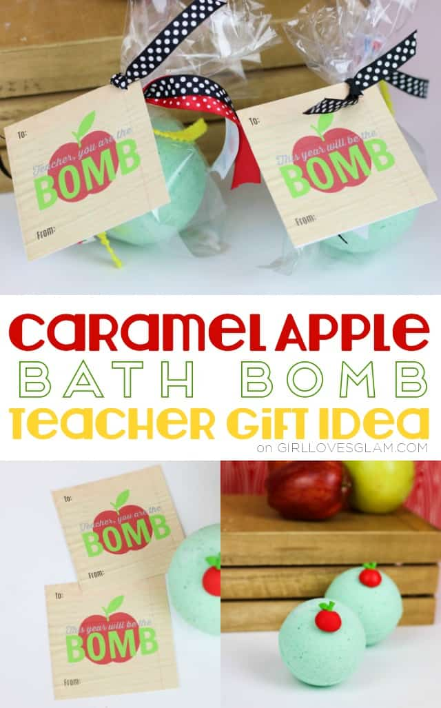 Caramel Apple Bath Bomb Teacher Gift Idea on www.girllovesglam.com