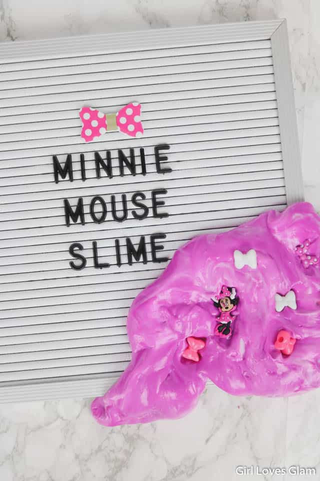 Minnie Mouse Soft Slime Recipe on www.girllovesglam.com