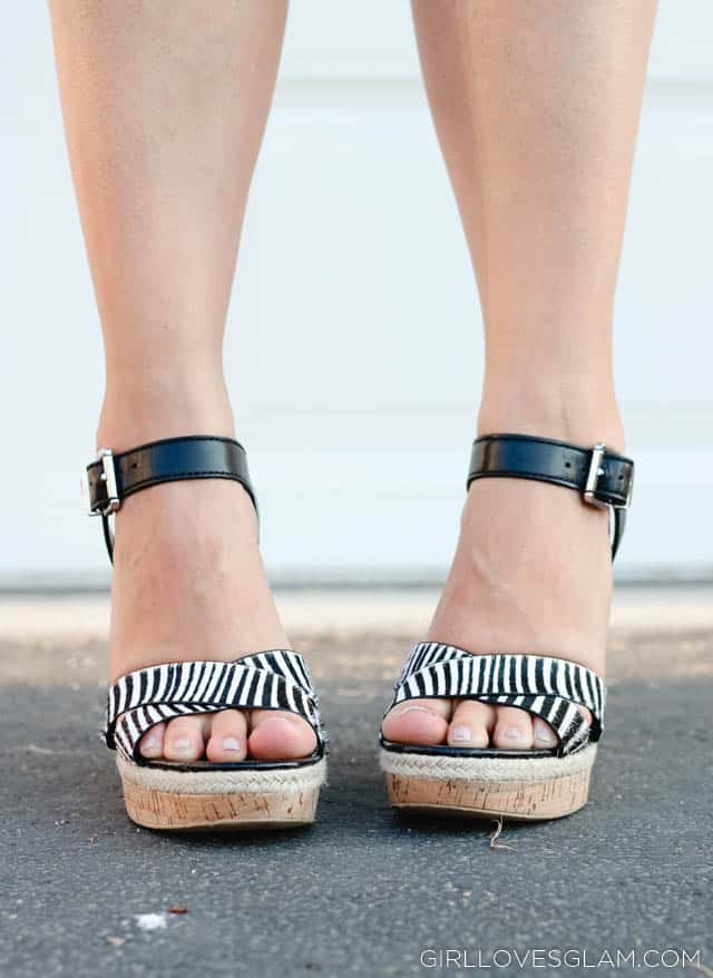 Sam Edelman Black and White Stripe Wedges