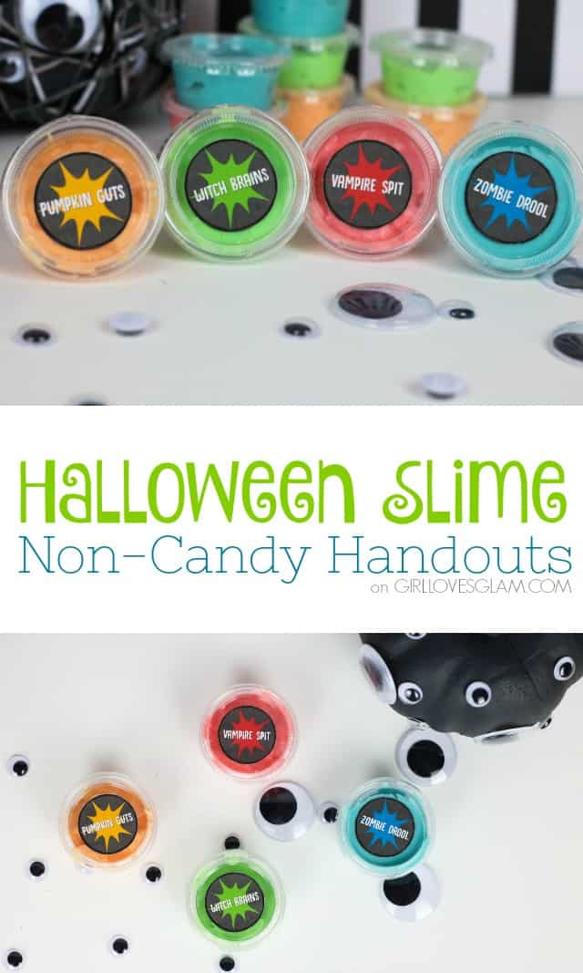 Halloween Slime Non-Candy Handouts for Trick or Treat or Class Party on www.girllovesglam.com