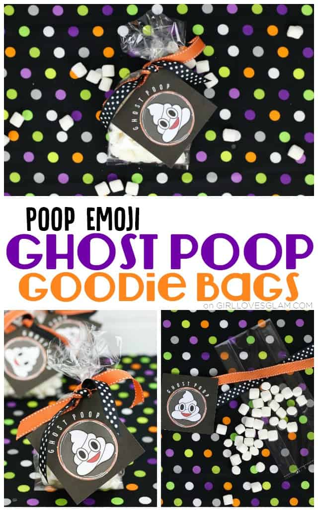 Poop Emoji Ghost Poop Goodie Bags on www.girllovesglam.com #halloween #goody #treat