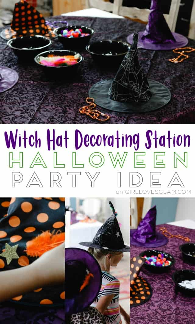 Witch Hat Decorating Station Halloween Party Idea on www.girllovesglam.com