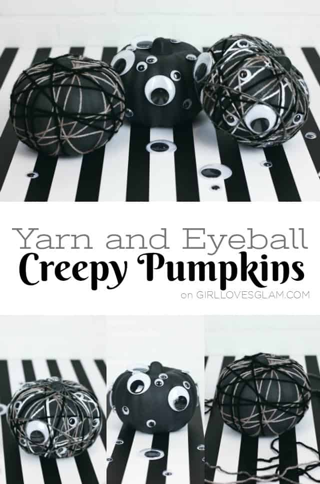 Yarn and Eyeball Halloween Pumpkins on www.girllovesglam.com