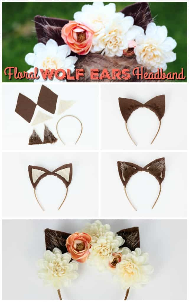Floral Wolf Ears Headband Tutorial on www.girllovesglam.com