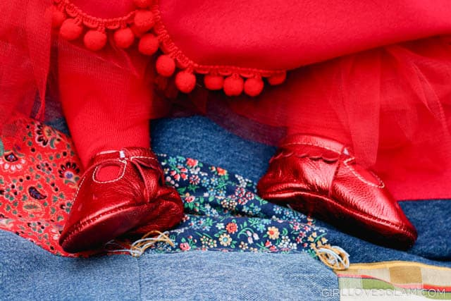Red Freshly Picked Mary Jane Moccasins