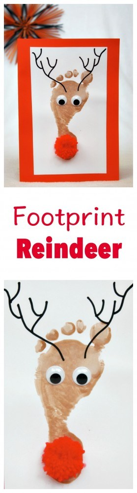 Footprint Reindeer Kid Craft