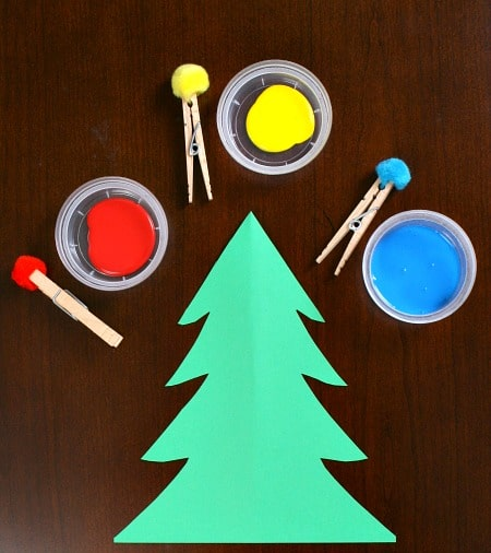 Christmas Tree Kid Craft Paint with Pom Poms